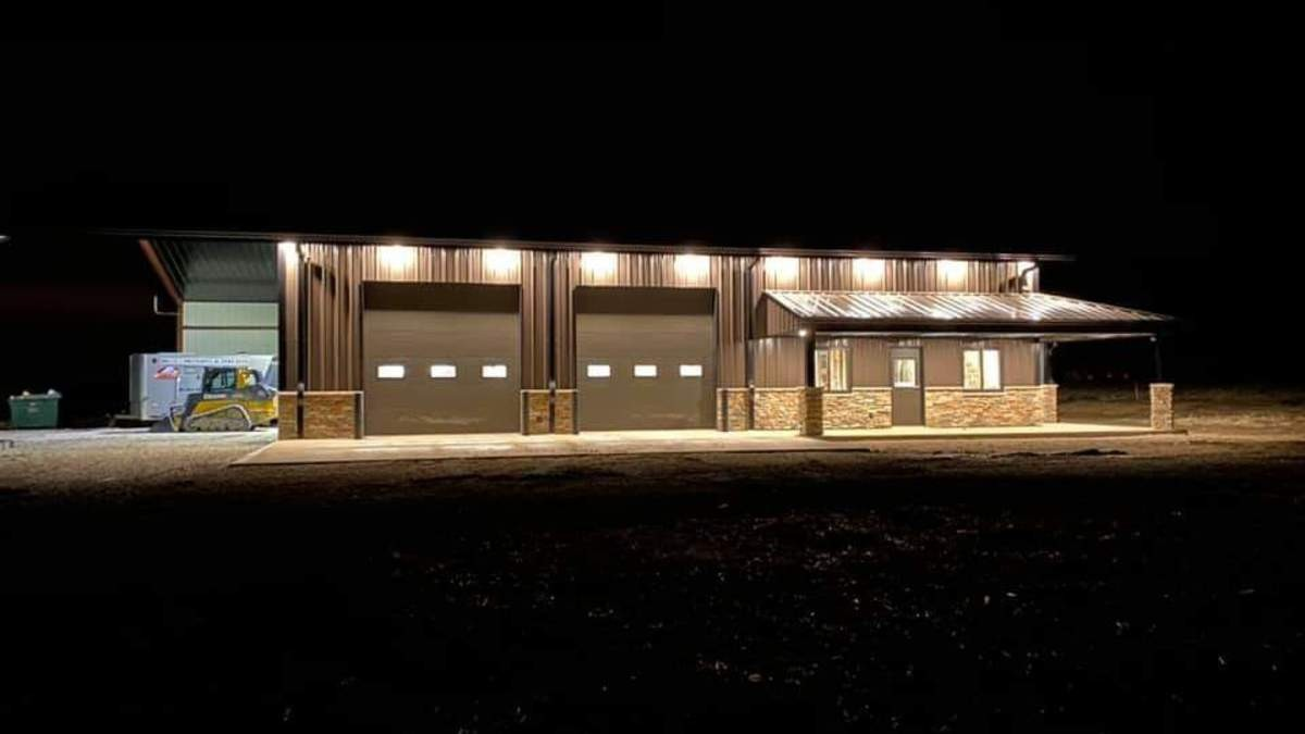 brian sollars pre-engineered building exterior at night